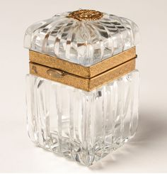 Baccarat glass box with decorative brass trim, lyre medallion on lid. Glass Containers With Lids, Glass Boxes, Antique Boxes, Antique Glass, My Glass, Glass Art, Types Of Glassware, Lorraine, Baccarat Crystal