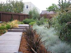 Entry to Studio using Decking Tiles  Boardwalk through garden (Arterra LLP Landscape Architects)