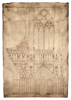 """Blueprint of medieval cathedral. The top image shows a drawing on parchment from the It is one of the earliest existing architectural drawings and depicts the façade, or front, of Strasbourg Cathedral in France. The """"blueprint"""" almost stands a meter tall. Art Et Architecture, Historical Architecture, Architecture Details, Cathedral Architecture, Strasbourg Cathedral, Cathedral Windows, Architecture Religieuse, Wow Art, Medieval Art"""