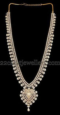 Jewellery Designs: Regal Diamond Long Set in Floral Design