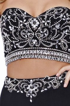lack Strapless Sweetheart Silver Jeweled Two Piece Prom Dress