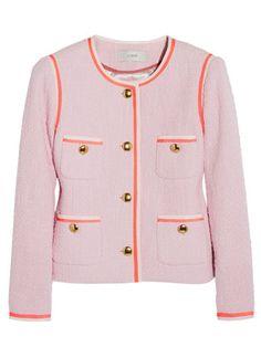 Old: Blue blazerbr New: Pastel tweed jacket
