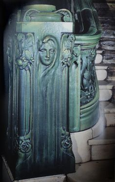 In the US in the late 19th Century, there was a willingness to experiment with tile and terra cotta decoration. This Art Nouveau newel post is at the bottom of the staircase in the New Amsterdam Theatre, New York, designed by the Norwegian architect Thorbjorn Bassoe and made by the Perth Amboy Terra Cotta Co. of New Jersey in 1902-03.
