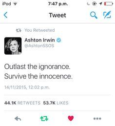 When Ashton tweets his own lyrics Ashton Irwin Tweets, 5sos Ashton, Inspirational Tweets, 5sos Tweets, Meaningful Lyrics, State Champs, Falling In Love With Him, 5 Sos, Luke Hemmings