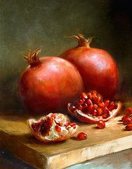 Pomegranates. Still Life. Paintings - Pomegranates by Robert Papp