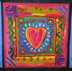 Paintbrush Rocket: Third Grade Peter Max Hearts - perfect for Valentine's day 3rd Grade Art Lesson, Third Grade Art, Second Grade, Valentines Art Lessons, Valentine Ideas, Printable Valentine, Homemade Valentines, Valentine Wreath, Valentine Box