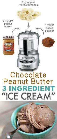 #4. 3 Ingredient Chocolate Peanut Butter Ice Cream -- So easy and healthy! | 6 Ridiculously Healthy Three Ingredient Treats Read more in http://natureandhealth.net/