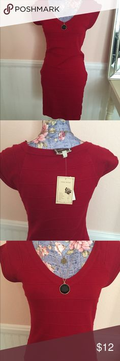 Brand new Amber Rose dress from Macy's Red form fitting knit dress. Juniors size large.  Pretty red. Amber Rose Dresses Midi