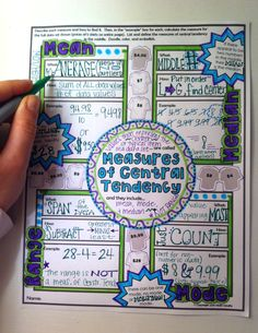 Mean Median Mode and Range - Measures of Central Tendency Doodle Notes! Right-Brain / Left-Brain Communication Improves Focus Memory & Learning Math Teacher, Math Classroom, Teaching Math, Teaching Ideas, Math Notebooks, Interactive Notebooks, Mean Median And Mode, Central Tendency, Sixth Grade Math