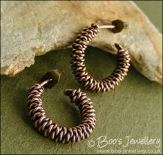 Hand Crafted Jewellery by Boo - original jewellery in copper, bronze and Sterling silver - Twisted rope hoop earrings with post fitting (Powered by CubeCart)