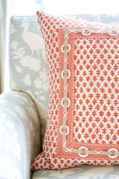 House of Turquoise: Anne Hepfer Designs - Blue colour palette with apricot accents - detail on cushions a nice feature