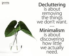 Well said! Decluttering is about removing the things we don't want -- Minimalism is about discovering how little we actually need.
