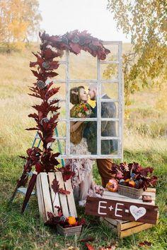 rustic country fall window wedding backdrop / http://www.deerpearlflowers.com/diy-window-wedding-ideas/
