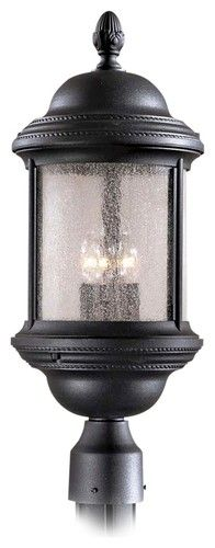 The simple, classic looks of this post mounted light will brighten your outside spaces with refined style. 21 high x 8 wide. Uses three maximum 60 watt candelabra bulbs (not included). Style # 28972 at Lamps Plus. Outdoor Lamp Posts, Outdoor Post Lights, Outdoor Lighting, Outdoor Lamps, Home Architecture Styles, Lamp Post Lights, Candelabra Bulbs, Beveled Glass, Lamp Light
