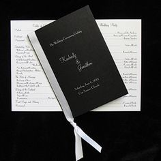 Black wedding program cover includes white insert page for all your wedding details. Quaint Wedding Stationery & Accessories