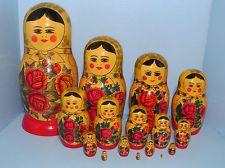 "VINTAGE ""RUSSIAN SEMENOV MAIDENS NESTING DOLLS"" 16 NEST (USSR) LARGE 14 1/2 """