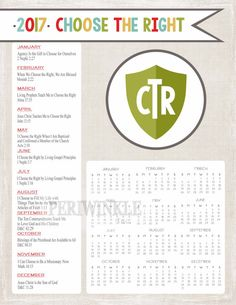 Year-at-a-Glance calendar for the 2017 Primary Theme: Choose the Right. Includes…