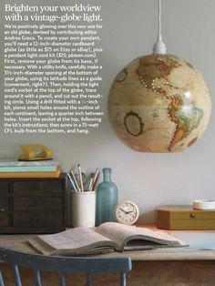 Love this DIY globe pendant light.