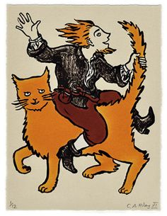 Mad Tom & Cat - limited edition stone lithograph