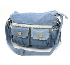 Handmade Lace Bowknot Cotton Jean Shoulder Bag