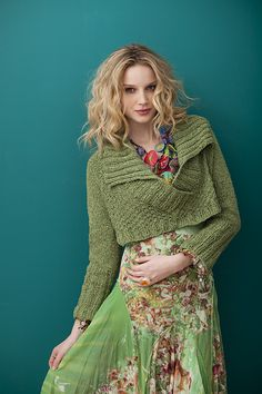 Ravelry: Going Green pattern by Cathy Carron. love the celery color with the feminine floral print.  gentle flowing, light and airy with victorian flower print and chunky celery green midriff style sweater