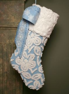 Wedgewood Blue and White Flower Chenille Heirloom Christmas Stocking