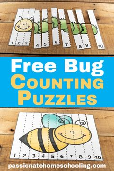 math FREE COUNT TO 10 BUG PUZZLES: These counting to 10 bug puzzles are so cute! My daughter loves to practice her numbers with these fun activities. A perfect way to have fun practicing early math skills. Numeracy Activities, Toddler Learning Activities, Spring Activities, Counting Activities, Preschool Number Activities, Preschool Puzzles, Number Activities For Preschoolers, Preschool Bug Theme, Kindergarten Counting