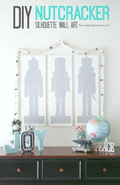 DIY Nutcracker Silhouette Wall Art Tutorial - great modern decor via @Rebecca - {The Crafted Sparrow}