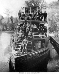 "All aboard! The steamboat ""Okeehumkee"" at Silver Springs filled with tourists (ca. 1880). 