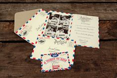 Postal themed invites introduce your guests to their upcoming international adventure