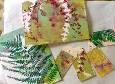 Through My Window: Creating in the kitchen and in the studio. While I was at my painting table, I thought I'd have a go at adding another printed layer with plant materials and acrylics onto some cards and tags that I had deemed rejects from my last Gelli printing session.