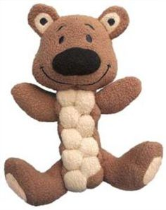 KONG Pudge Braidz Bear Dog Toy, Medium/Large