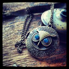 Steampunk Owl Locket Necklace hoot Blue Jewel by DieselLaceDesign, $19.98