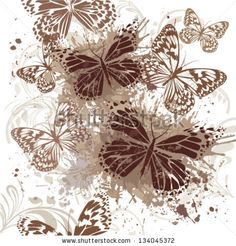 Vintage Butterfly On A White Background Ilustraciones Vectoriales de Stock: 134045372 : Shutterstock