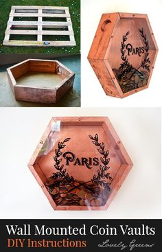 DIY project for making modern, wall-mounted, piggy banks using recycled wood. Diy Pallet Projects, Wood Projects, Craft Projects, Projects To Try, Diy Projects Out Of Recycled Materials, Woodworking Lamp, Woodworking Projects, Wooden Piggy Bank, Diy Piggy Bank
