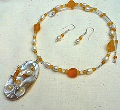 Follow us to http://freecycleusa.com Wrapped Blister Pearl Yellow Recycled Glass Necklace Earring Set OOAK Argentium Sterling Silver