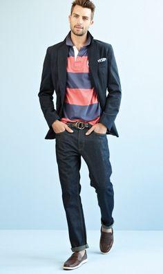 Richards - navy Traveler jacket, pink and purple polo, dark blue jeans, dark brown leather o-ring belt, brown New Village mocassin
