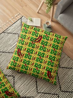 Ole! Red Hot Chili Peppers for your Fiesta Time!  Illustration of green leaves with red peppers, ready to be eaten off the vine! • Also buy this artwork on home decor, apparel, stickers, and more. #Redbubble #Gravityx9 #homedecor #chilipeppers #peppers #homedecor #pillows #floorpillows