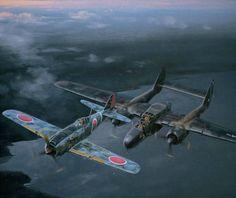 Caught in the Widow\'s Web, by Jack Fellows (Nakajima Ki-84 Hayate \'Frank\' & P-61 \'Black Widow\')