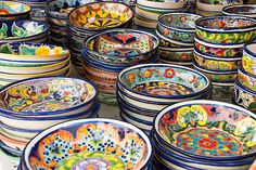 Colorful Talavera Pottery, Mexico by Maryann's*****Fotos, via Flickr