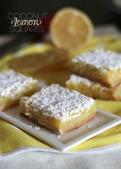 Delicious Coconut Lemon Bars Recipe - One of my favorites!  These are fast and tasty :)