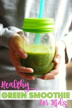 This simple, sweet recipes for a healthy green smoothie for kids will get your gang started on green drinks, a perfect way to get more veggies every day! Smoothie Recipes For Kids, Smoothies For Kids, Healthy Green Smoothies, Breakfast Smoothies, Fruit Smoothies, Healthy Drinks, Healthy Kids, Vegetable Smoothies, Healthy Snacks
