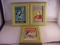 3 framed mickey mouse us postal service postcards vintage theater poster