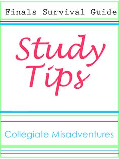 Collegiate Misadventures: Finals Survival Guide Study Tips. Could work for other levels of school as well. Study Skills, Study Tips, College Organization, Organizing Tips, College Survival, Good Grades, Always Learning, Survival Guide, Survival Food