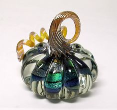 Large Clear and Dichroic Pumpkin by Ken Hanson and Ingrid Hanson (Art Glass Sculpture) Cut Glass, Glass Art, Glass Floats, Pumpkin Art, Glass Pumpkins, Glass Figurines, Hanging Art, Vase, Hand Blown Glass