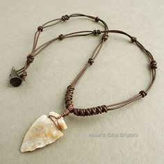 Natural Jasper Stone Arrowhead Brown Leather Choker Necklace for Men $24.95