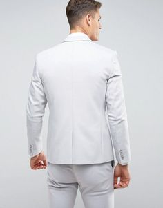 ASOS WEDDING Skinny Suit Jacket With Square Hem In Gray - Gray