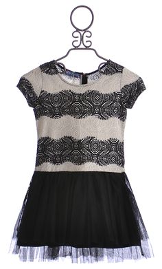 Truly Me Girls Elegant Party Dress in Black and Ivory