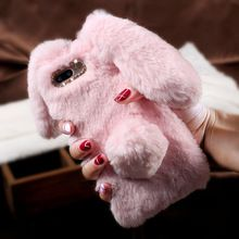 For iPhone 5s 6 6s 7 Plus Bunny Cover 3D Cute Rabbit Warm Fur Case for iPhone Huawei P9 Lite Bag for Sony XA for Samsung S7 edge(China (Mainland))