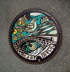 Pretty manhole cover in Japan.  I wish we did this here.